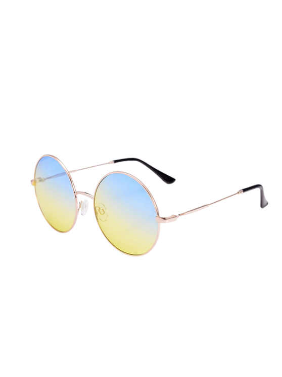 2018 Metal Frame Round Ombre Sunglasses With Box In BLUE | ZAFUL
