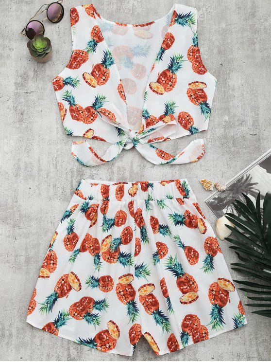 chic Pineapple Print Crop Top and Shorts Set - WHITE L