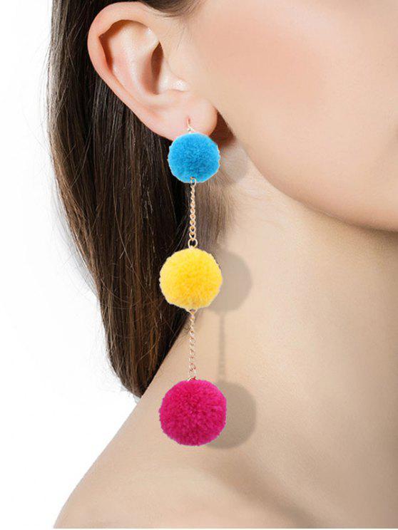 Pendientes Fuzzy Ball Chain Hook - Colores Mezclados