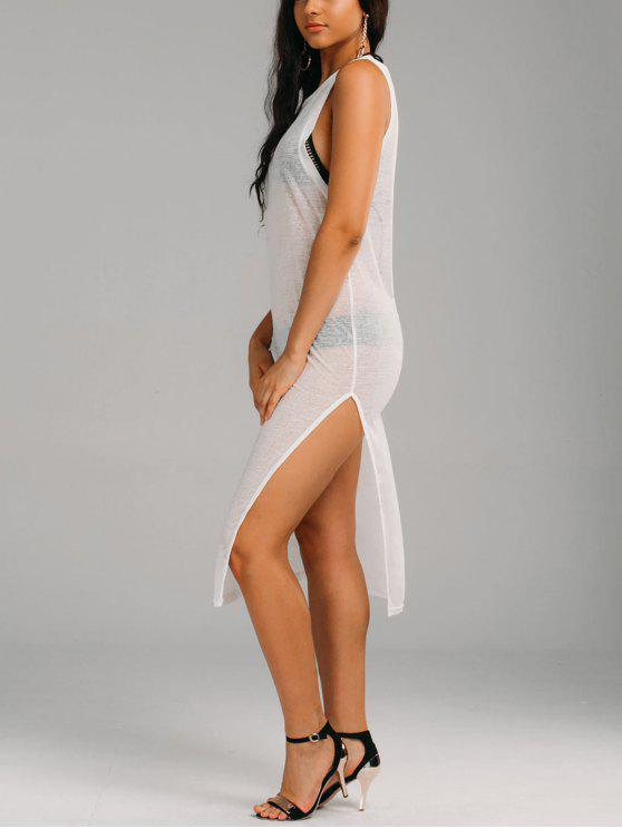 Casual See Thru Slit Cover Up Dress - Blanc S
