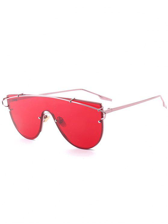 outfit Metallic Long Crossbar Shield Sunglasses - RED