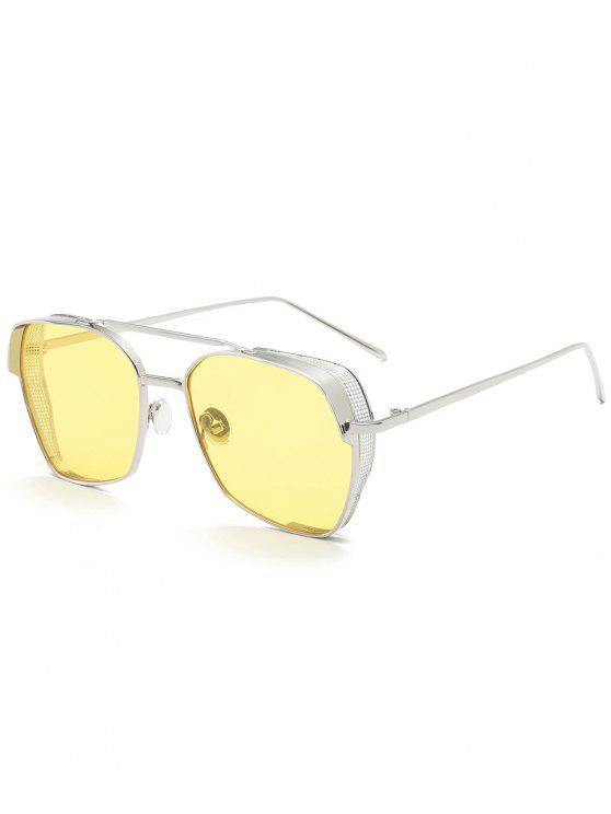 shop Geometrical Frame Double Metal Crossbar Sunglasses - YELLOW