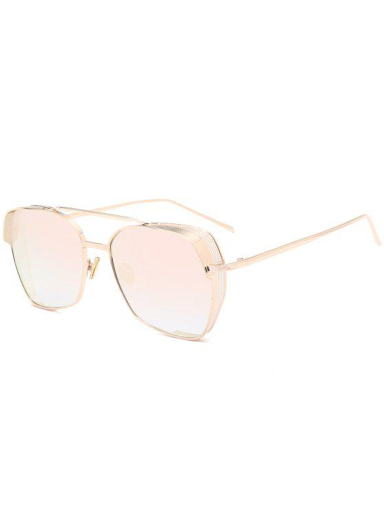 Geometrischer Rahmen Doppel Metall Querlatte Sonnenbrillen - Goldrahmen+pinke Linse