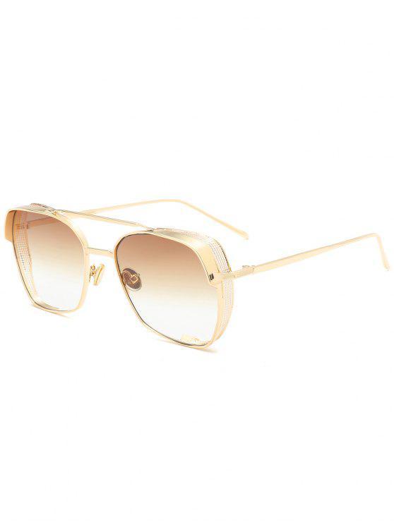trendy Geometrical Frame Double Metal Crossbar Sunglasses - TEA-COLORED