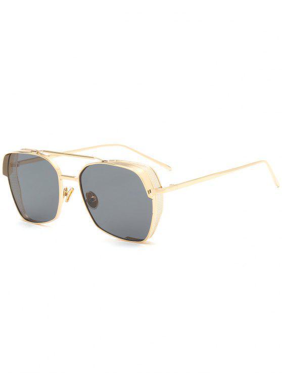 Geometrischer Rahmen Doppel Metall Querlatte Sonnenbrillen - Schwarz
