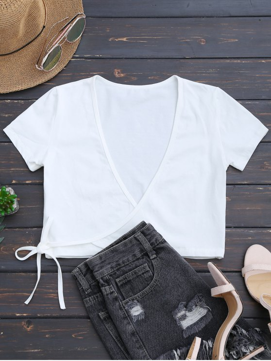 trendy Cotton Wrap Cropped Top - WHITE ONE SIZE