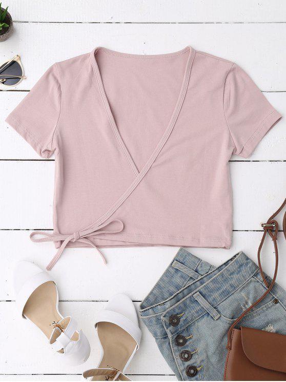 Baumwoll-Wickel-Crop Top - Pink Eine Größe