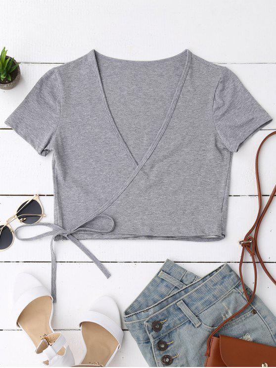 chic Cotton Wrap Cropped Top - GRAY ONE SIZE