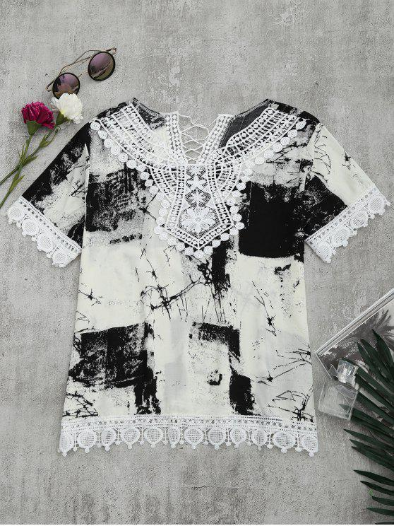 affordable Lace Panel Tie Dye Blouse - WHITE AND BLACK L