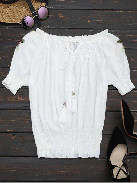 lady Floral Patched Tassels Blouse - WHITE ONE SIZE