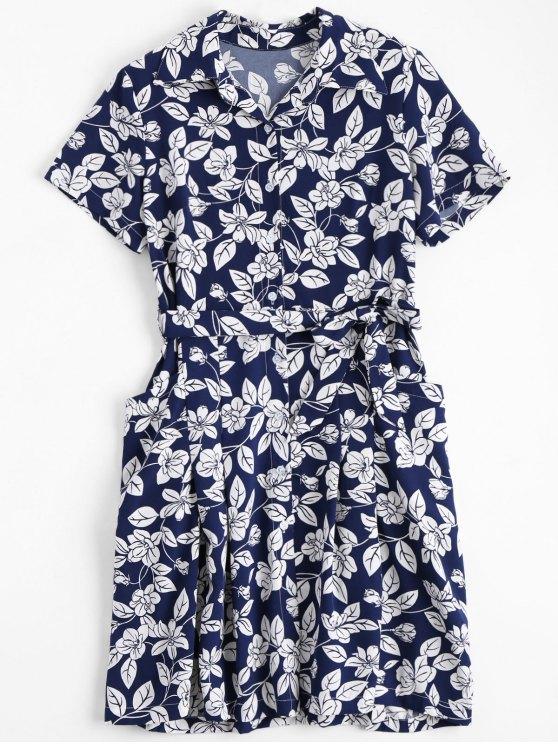 فستان شيرت كلاسيكي مربوط طباعة الأزهار - الأزهار L