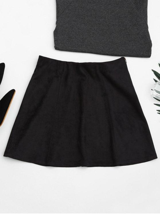 fancy Faux Suede Mini A-Line Skirt - BLACK M