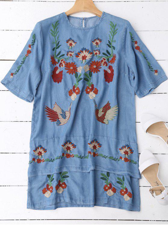 فستان طبقات مطرز بالأزهار مستقيم - ازرق L