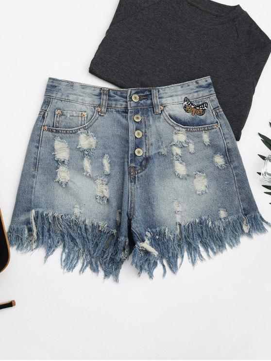short en jean déchirés  brodés de papillons et à boutons - Denim Bleu XL