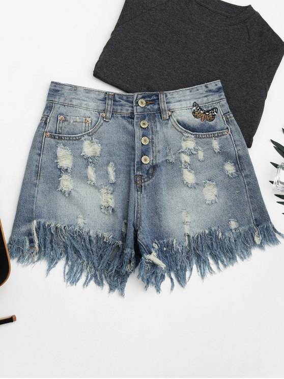 affordable Ripped Cutoffs Butterfly Embroidered Denim Shorts - DENIM BLUE M
