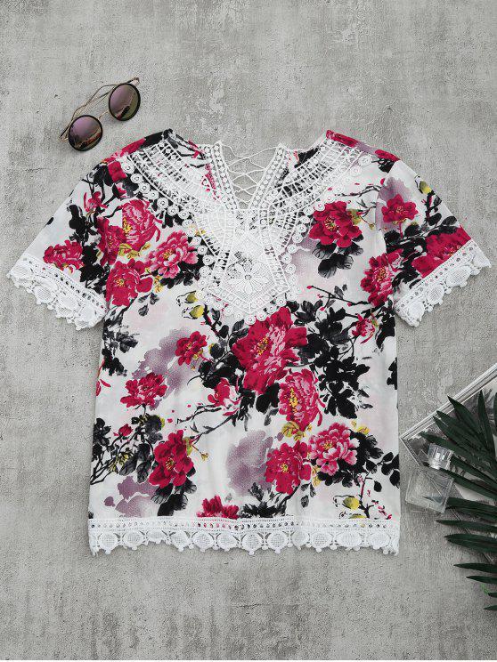 best Lace Panel Floral Print Blouse - FLORAL S