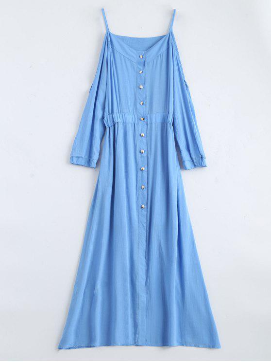 affordable Maxi Cami Cold Shoulder Shirt Dress - BLUE S