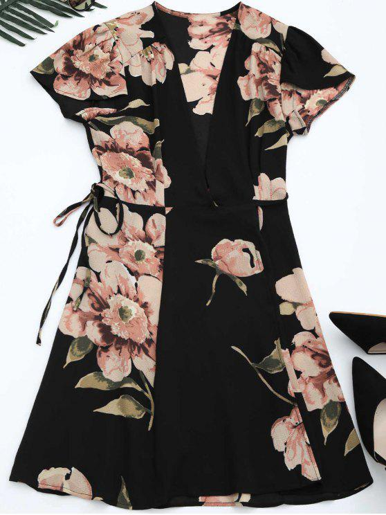 Robe à imprimé imprimé à fleurs - Noir L