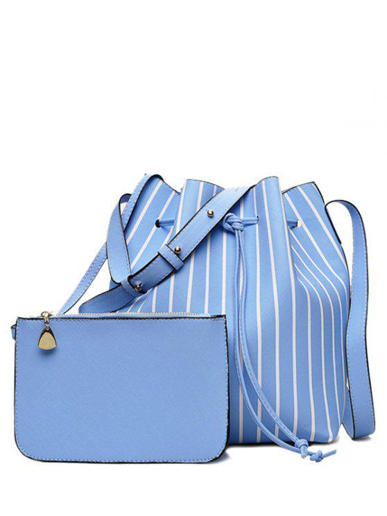 Sac à Godet Rayé et Pochette - Bleu