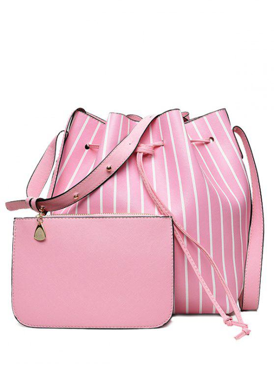outfits Pouch Bag and Striped Bucket Bag - PINK