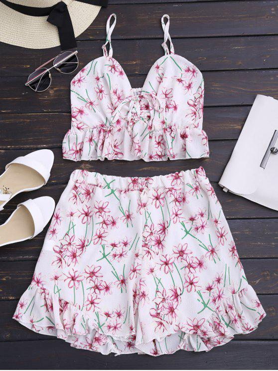 best Floral Print Ruffled High Waist Cami Suit - FLORAL XL