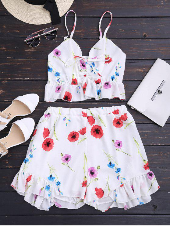 hot Floral Print Ruffle Hem Cami Suit - WHITE L
