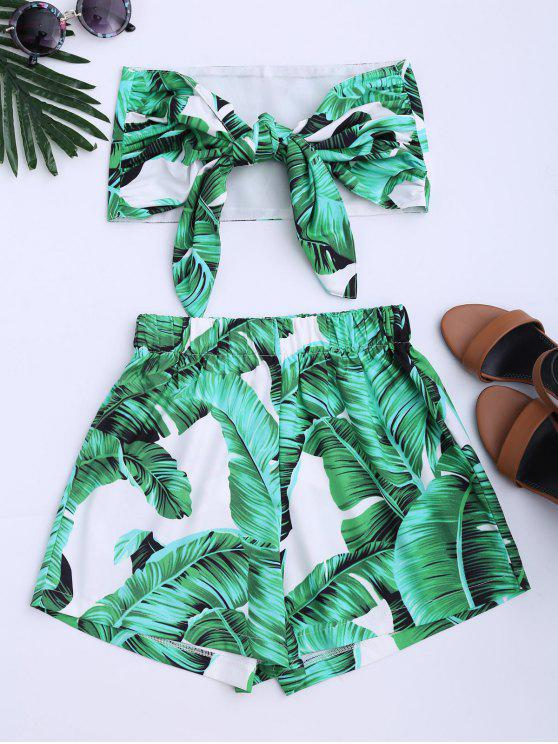 shop Leaves Print Strapless Top and Shorts Set - GREEN M