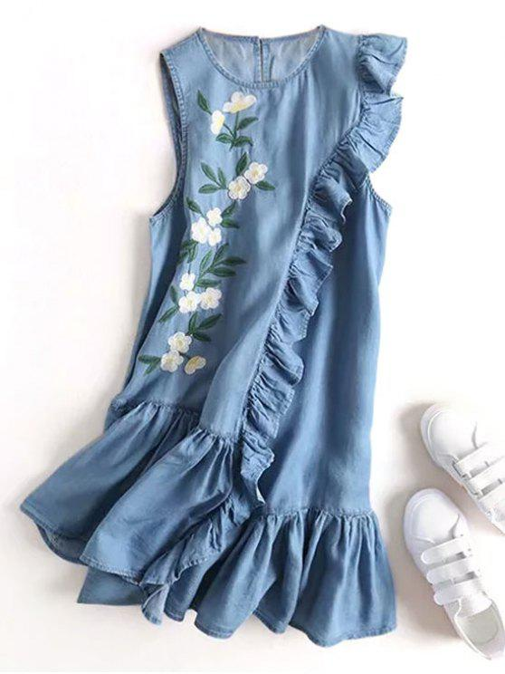 affordable Floral Embroidered Ruffles Casual Dress - DENIM BLUE S