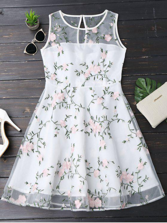 lady Floral Patched Sleeveless Organza Dress - WHITE XL