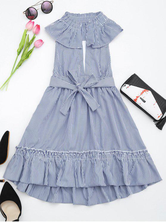 trendy Plunging Neck Ruffles Striped Belted Dress - STRIPE L