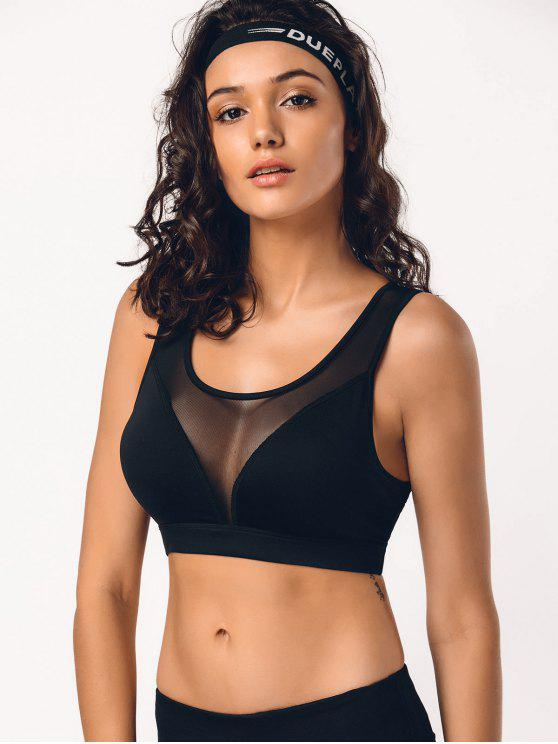 hot Cut Out Mesh Padded Sporty Bra - BLACK S