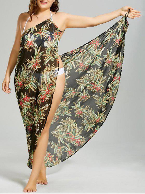 Vestido de talla tropical con recubrimiento de hojas tropicales - Negro 3XL