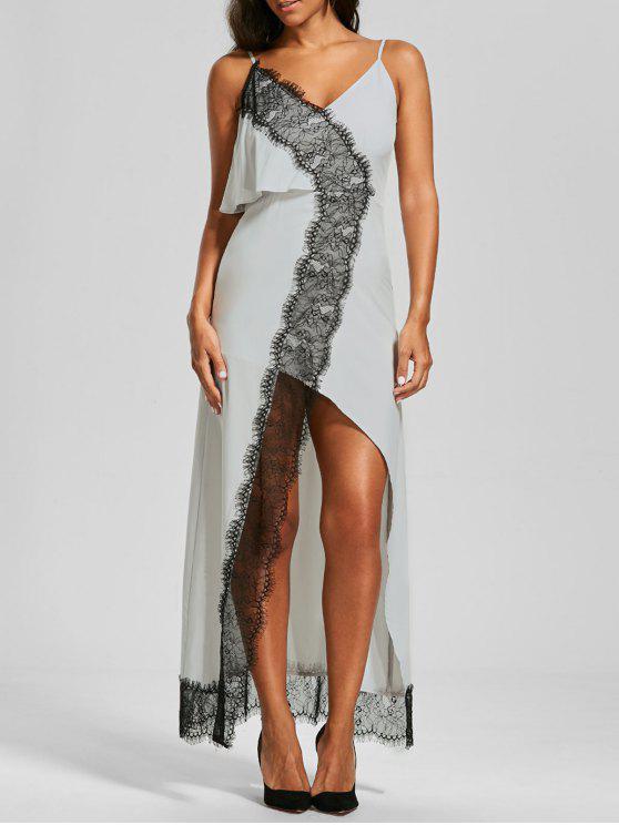 Overlay Lace Trim Front Slit Cami Vestido - Blanco M