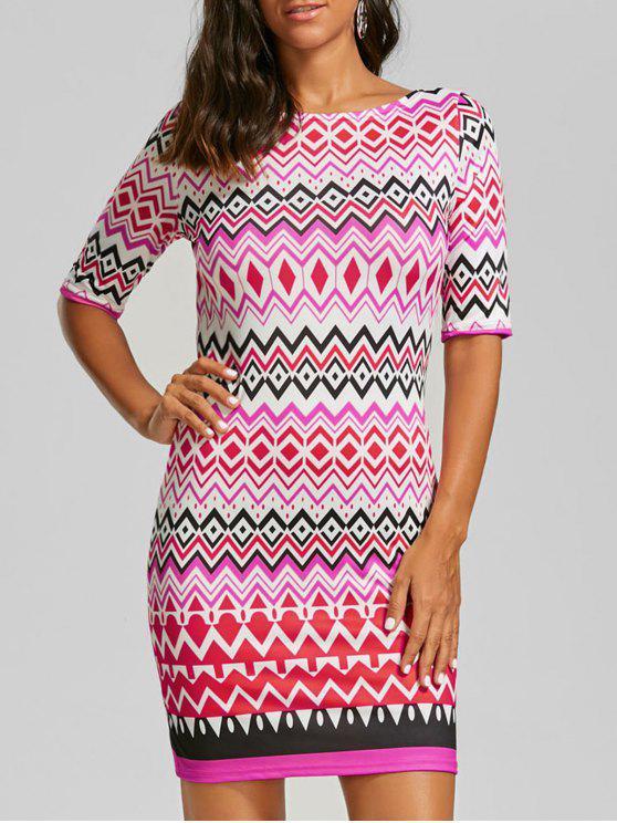Robe en zigzag avec fermeture à glissière arrière - Multicolore XL