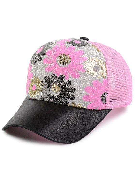 الأزهار نمط الترتر مزين قبعة بيسبول - الضحلة الوردي