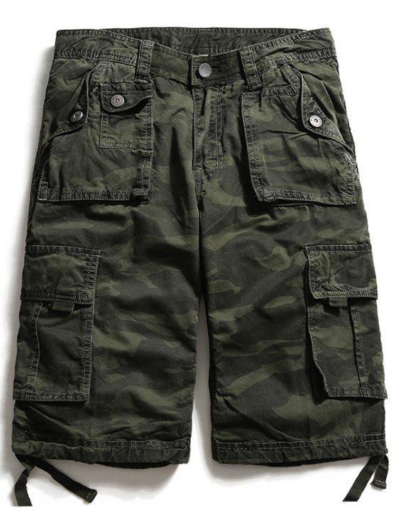 السراويل البضائع متعدد جيوب البريدي يطير التمويه - الجيش الأخضر 40