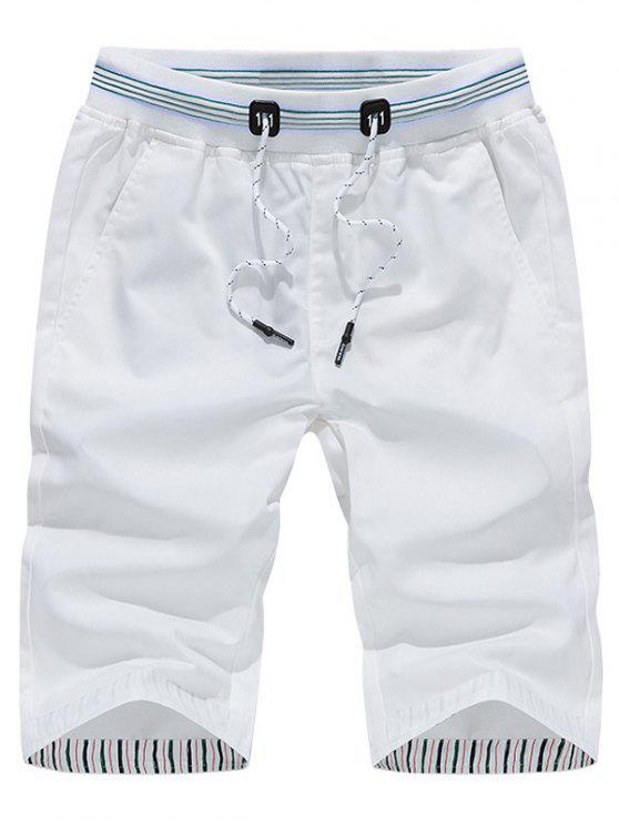 عارضة الرباط السراويل برمودا - أبيض 3XL