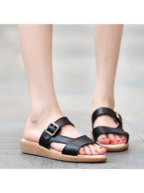 019ef8b0b1936 34% OFF  2019 Flat Heel Belt Buckle Faux Leather Slippers In BLACK ...