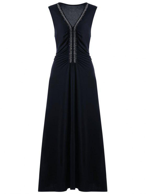 زائد حجم حجر الراين مزينة أكمام اللباس الرسمي - أسود 5XL