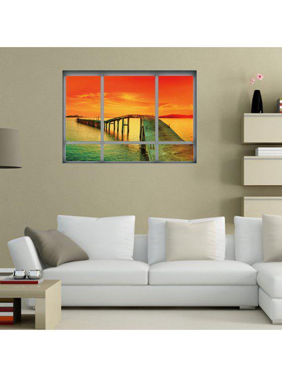 المحيط الغروب ديكور المنزل 3d الفينيل الجدار ملصق - أحمر برتقالي 48.5 * 68CM