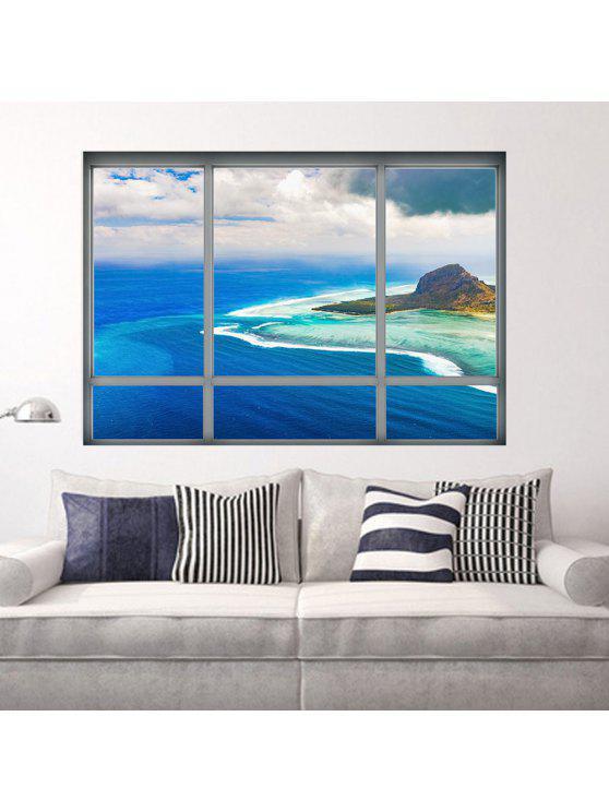 3d، نافذة عرض الفن الفينيل الجدار ملصق - أزرق 48.5*68CM