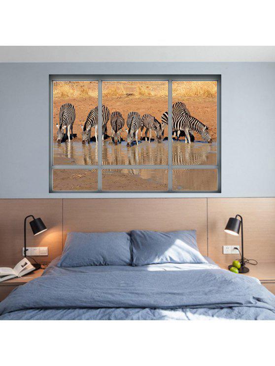 زيبرا الحيوان للإزالة ديكور الجدار ملصق - BROWN 48.5 * 68CM