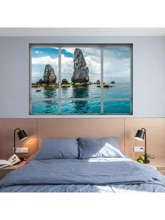 3d نافذة مشهد الجدار ملصق تزيين المنزل - البحيرة الزرقاء 48.5 * 68CM