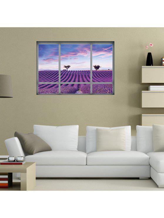 الخزامى الخلابة غرفة المعيشة ديكور الجدار ملصق - أرجواني 48.5 * 68CM
