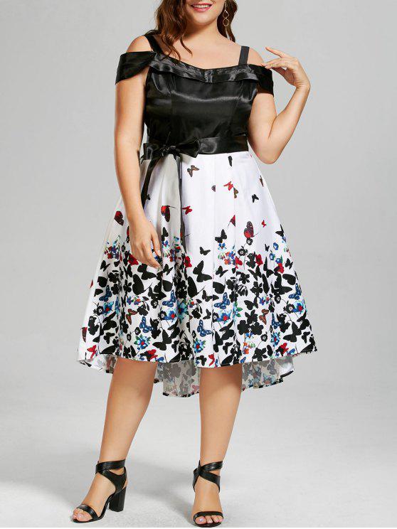 فستان الحجم الكبير باردة الكتف طباعة الفراشة كلاسيكي - أسود 4XL