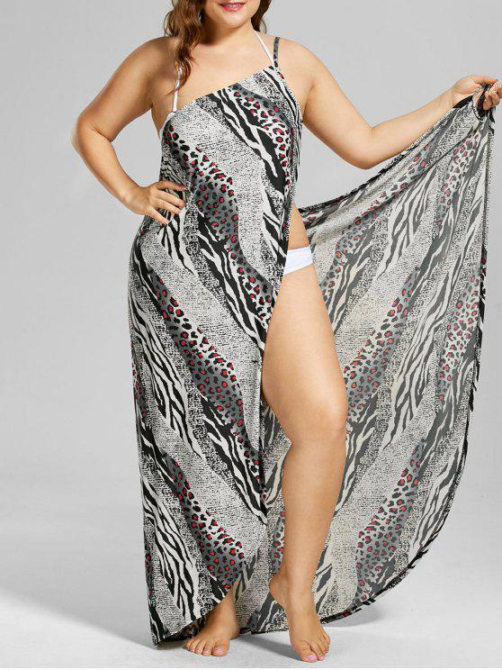 4e984688fb3 36% OFF  2019 Plus Size Leopard Insert Wrap Dress In COLORMIX