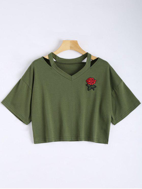 affordable Floral Embroidered Cold Shoulder Top - ARMY GREEN M