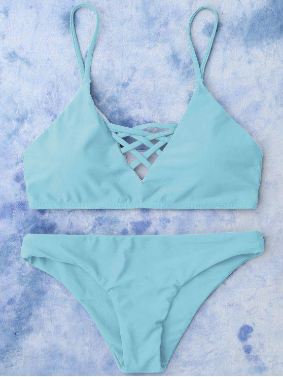 Schnürung Bikini Badeanzug - Helles Blau S