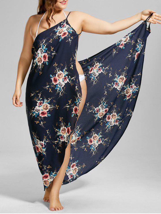 فستان طباعة الأزهار المصغرة الحجم الكبير شاطئ تغطية لف ماكسي - الأرجواني الأزرق 3XL