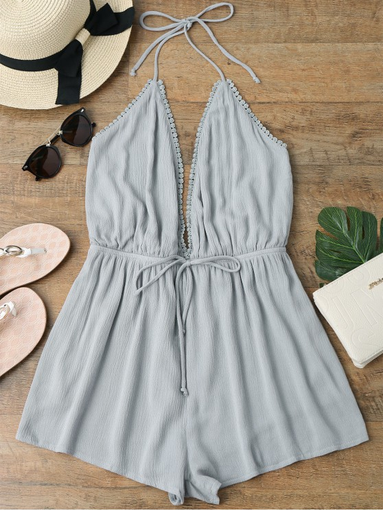 f08f7a1547 26% OFF] 2019 Plunge Halter Beach Cover Up Romper In GRAY | ZAFUL